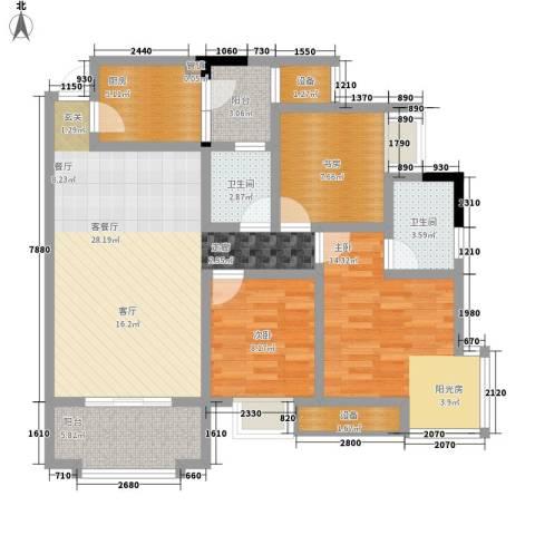 书香美舍3室1厅2卫1厨87.00㎡户型图