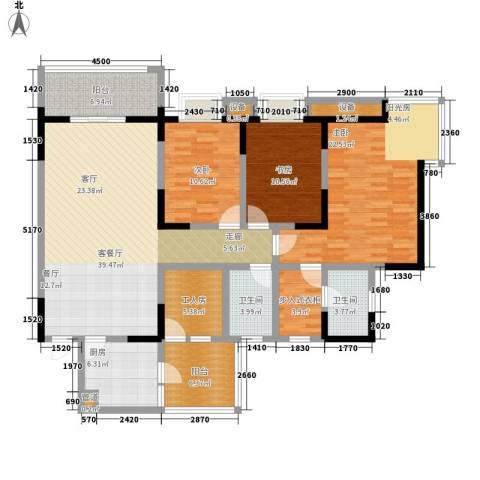 书香美舍3室1厅2卫1厨121.67㎡户型图