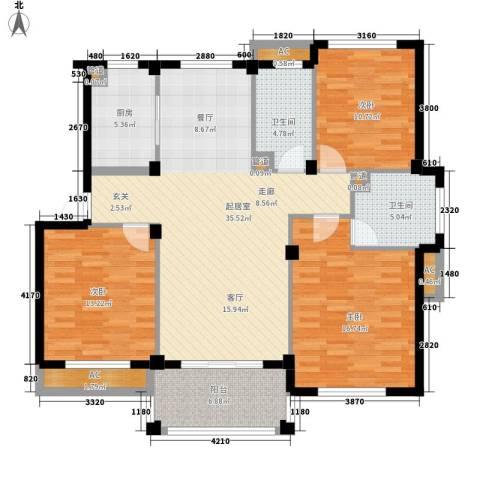 南岸花园东区3室0厅2卫1厨124.00㎡户型图
