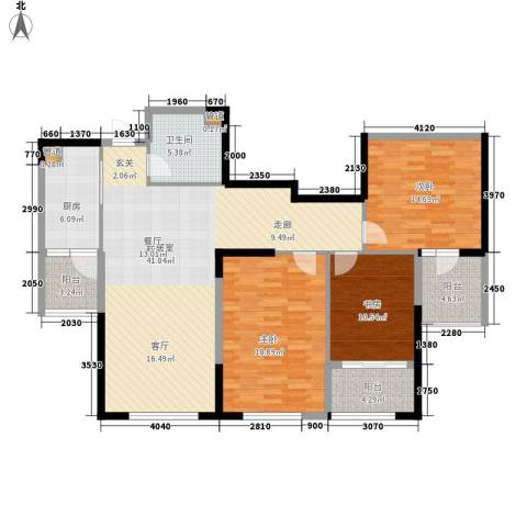 双子星城市广场3室0厅1卫1厨117.00㎡户型图