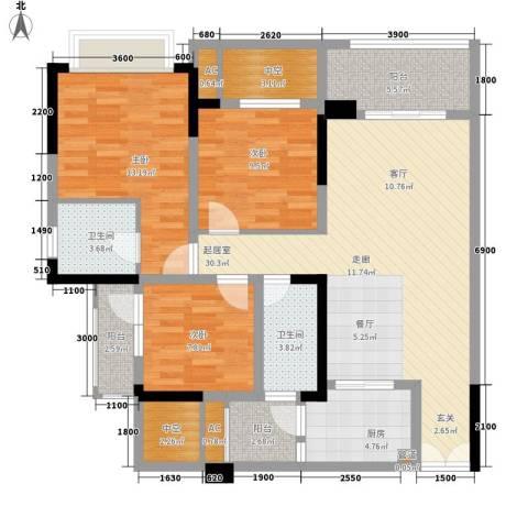华峰晶蓝江岸3室0厅2卫1厨124.00㎡户型图