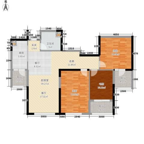 双子星城市广场3室0厅1卫1厨118.00㎡户型图