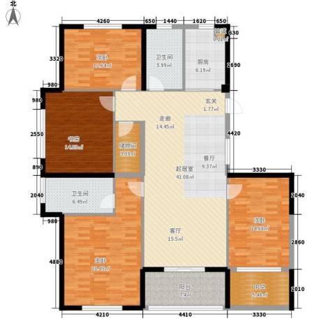 双子星城市广场4室0厅2卫1厨156.00㎡户型图