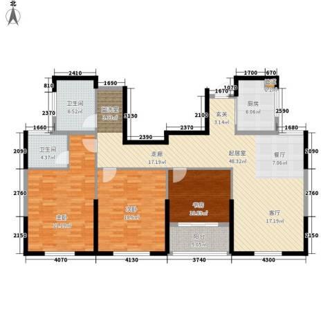 双子星城市广场3室0厅2卫1厨136.00㎡户型图
