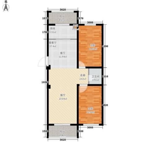 东方・新湖俪城2室1厅1卫1厨114.00㎡户型图