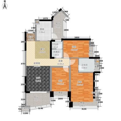 雅居乐国际花园3室0厅2卫1厨98.33㎡户型图