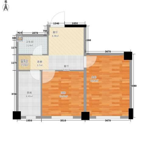 东方・新湖俪城2室1厅1卫1厨71.00㎡户型图