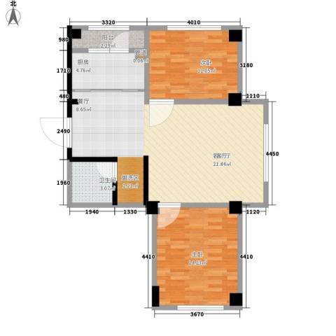 东方・新湖俪城2室1厅1卫1厨96.00㎡户型图