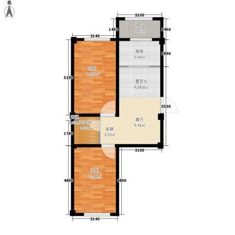 东方・新湖俪城2室1厅1卫1厨82.00㎡户型图