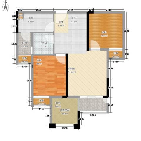 旭辉新里城2室1厅1卫1厨60.03㎡户型图