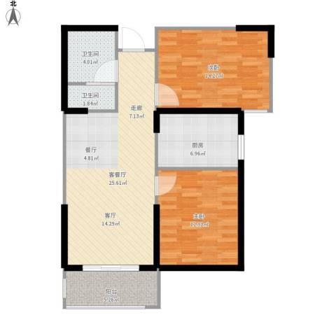 滨河新天地2室1厅2卫1厨98.00㎡户型图