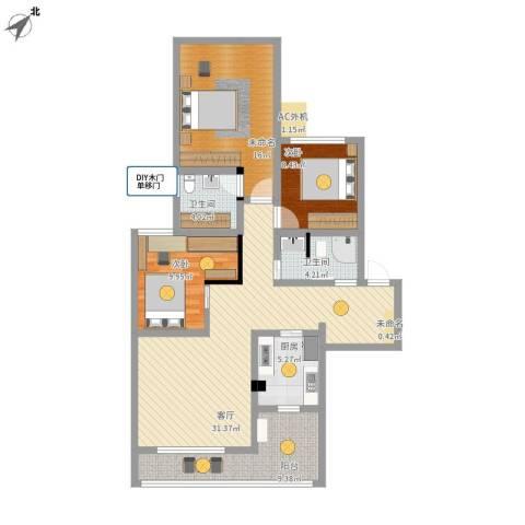 长寿区维多利亚2室1厅2卫1厨130.00㎡户型图