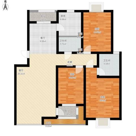 半岛蓝湾3室1厅2卫1厨156.00㎡户型图
