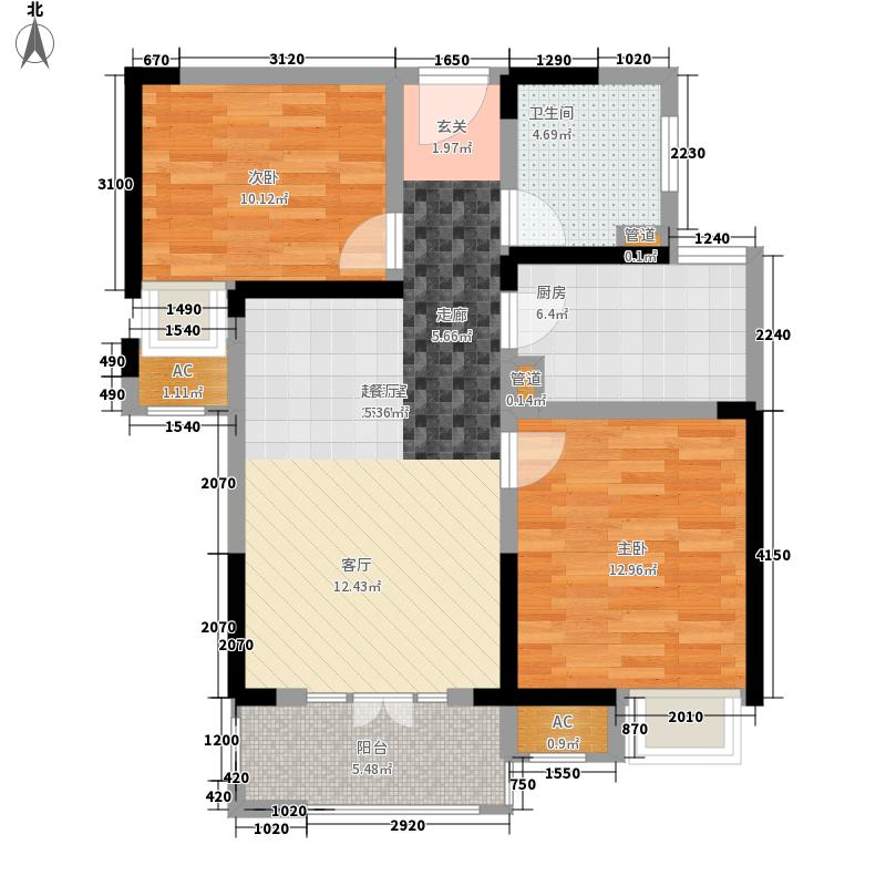 世茂锦绣长江78.00㎡1、2、3-B户型2室2厅