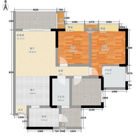 御廷上郡2室0厅2卫1厨90.08㎡户型图