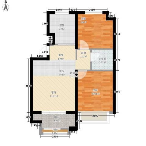 金辰富海广场2室0厅1卫1厨90.00㎡户型图