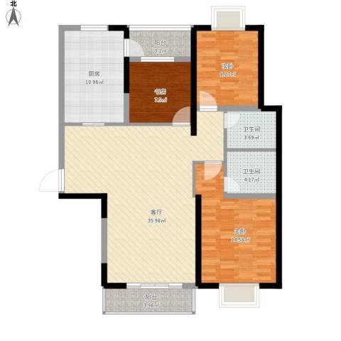 碧宸・西海岸3室1厅2卫1厨132.00㎡户型图