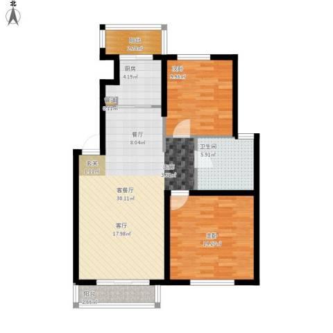 心之筑2室1厅1卫1厨100.00㎡户型图