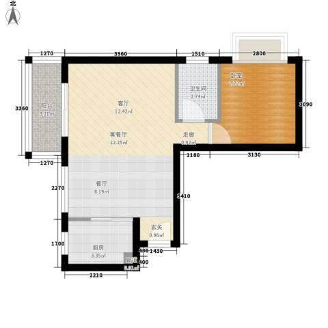 红星楼1厅1卫1厨45.37㎡户型图