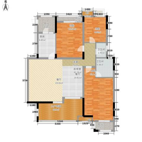 泽科港城国际锦云香缇3室0厅2卫1厨127.47㎡户型图