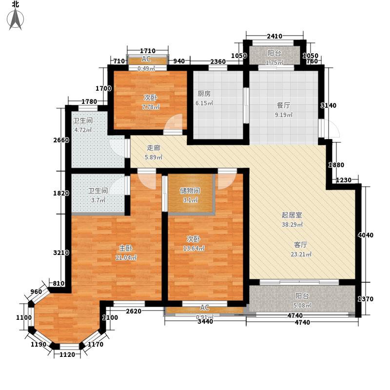 中筑蓝湾铭都123.00㎡M户型3室2厅