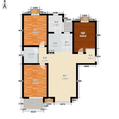 盛华园3室0厅1卫0厨125.00㎡户型图