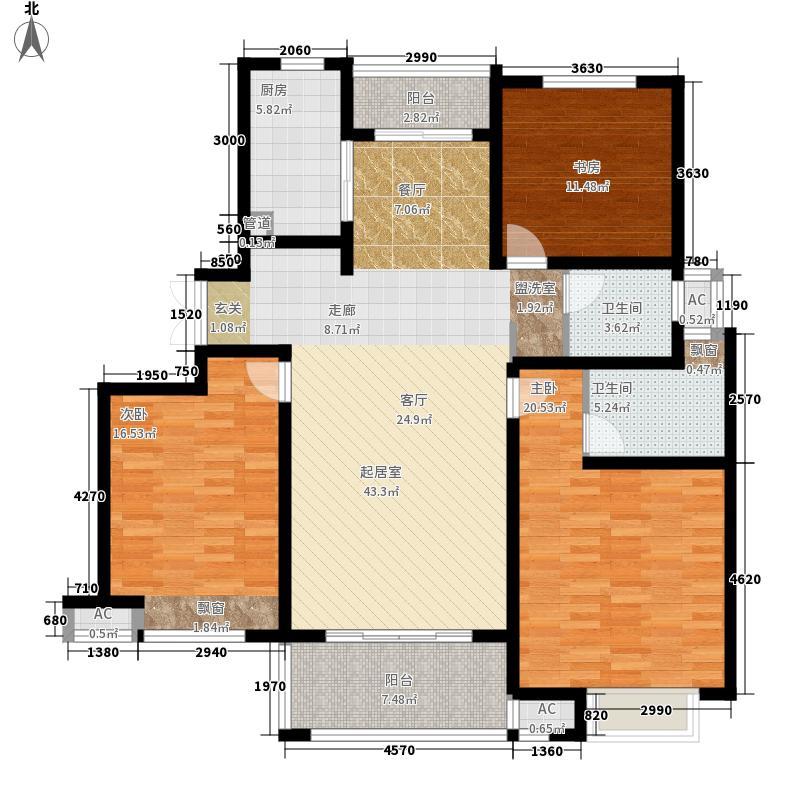 绿地镜湖世纪城136.31㎡一期高层2#、12#楼B1户型