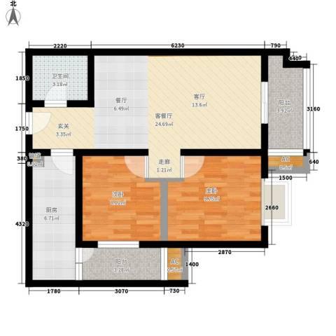 华旗东郡2室1厅1卫1厨86.00㎡户型图