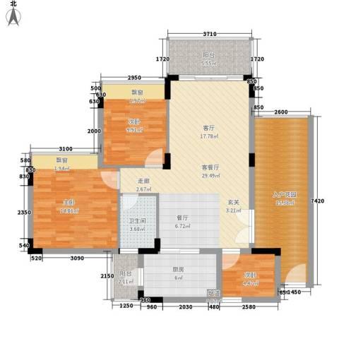 花都雅居乐花园3室1厅1卫1厨129.00㎡户型图