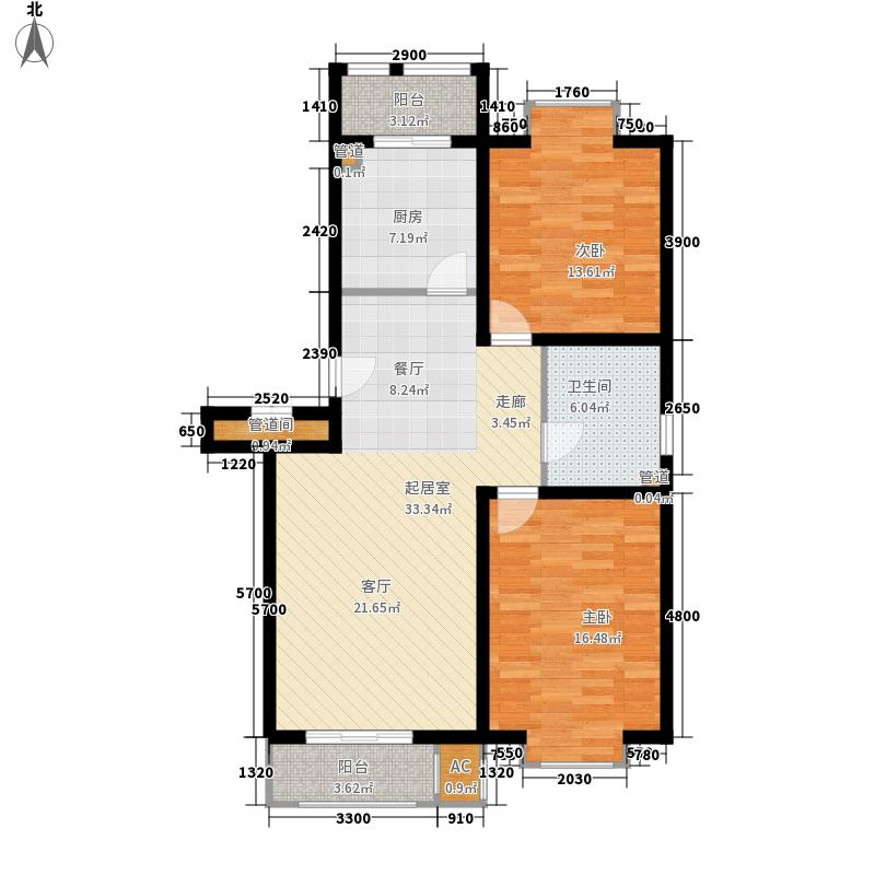 小镇西西里104.36㎡一期1号楼标准层B3户型