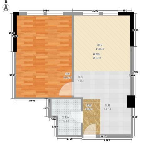 保亿・风景御园1室1厅1卫0厨74.00㎡户型图