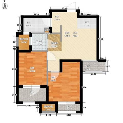 锦绣天地2室1厅1卫1厨72.00㎡户型图