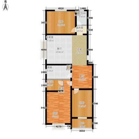 达诺现代城3室0厅2卫1厨140.00㎡户型图