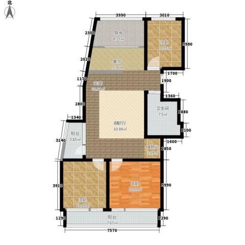 凯旋国际花园3室1厅1卫1厨126.00㎡户型图