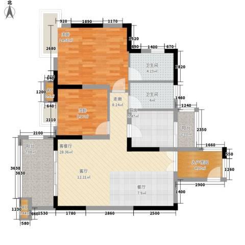 北城阳光今典2室1厅2卫1厨81.00㎡户型图