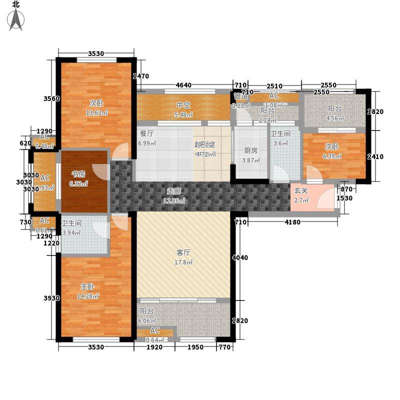 水晶湖郡140.36㎡半岛高层3#楼A梯0户型