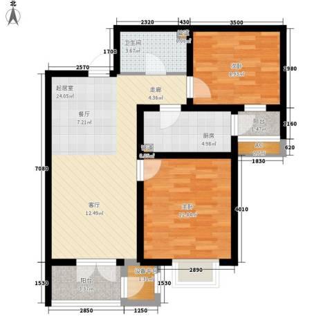 长瀛御龙湾2室0厅1卫1厨90.00㎡户型图