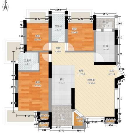 幽然居3室0厅2卫1厨60.00㎡户型图