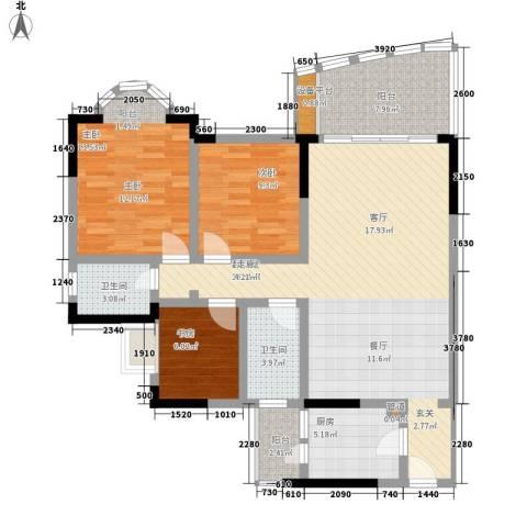 回龙湾小区3室0厅2卫1厨105.00㎡户型图