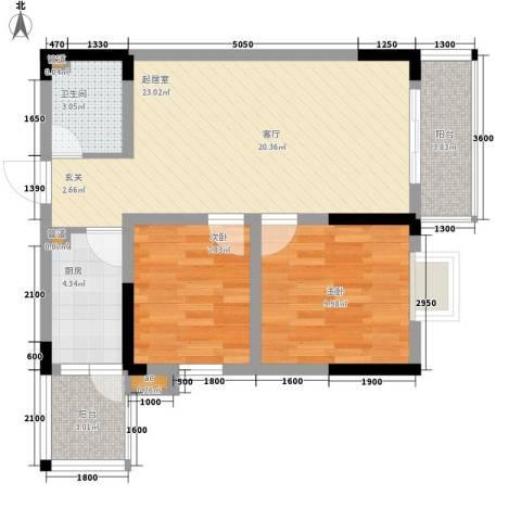 回龙湾小区2室0厅1卫1厨60.00㎡户型图