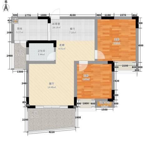 回龙湾小区2室0厅1卫1厨73.00㎡户型图