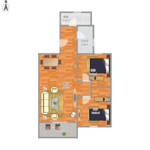 宝宸怡景园2室1厅1卫1厨86.00㎡户型图