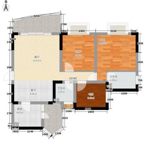 回龙湾小区3室0厅2卫1厨85.00㎡户型图