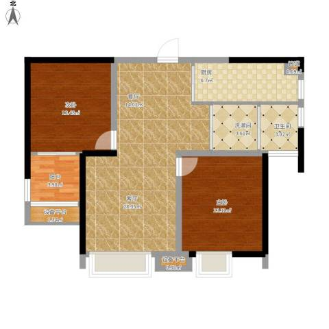 金盛田锦上2室1厅1卫1厨105.00㎡户型图
