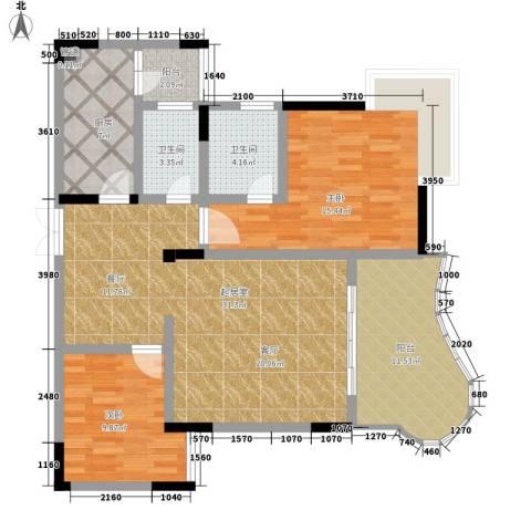 伴山名都2室0厅2卫1厨85.09㎡户型图