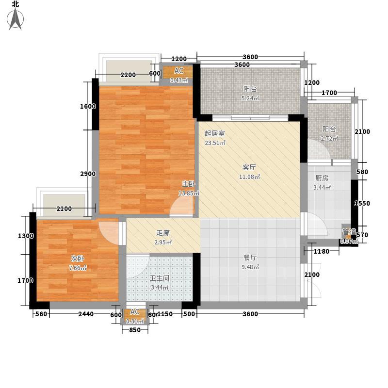 华宇北城中央64.10㎡17号楼1单元面积6410m户型