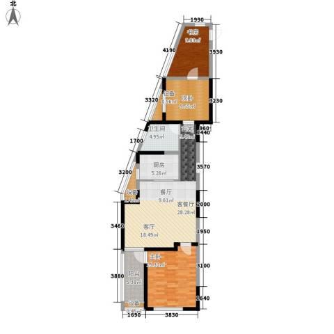 奥林清华御园3室1厅1卫1厨94.00㎡户型图