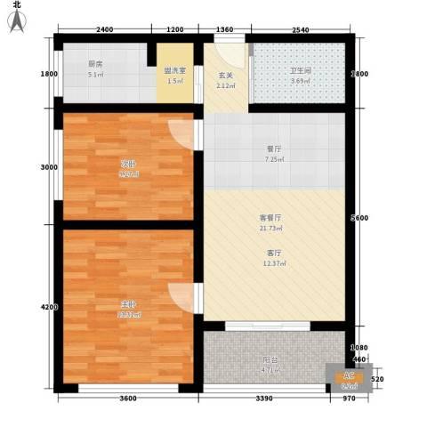 华旗东郡2室1厅1卫1厨85.00㎡户型图