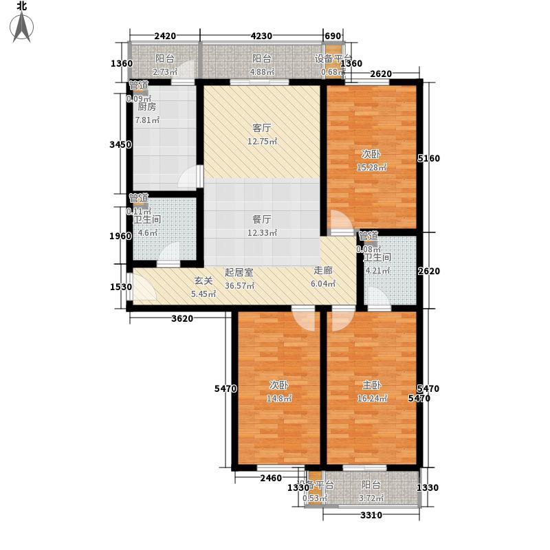 圣水湖畔151.60㎡一期8号楼标准层D户型