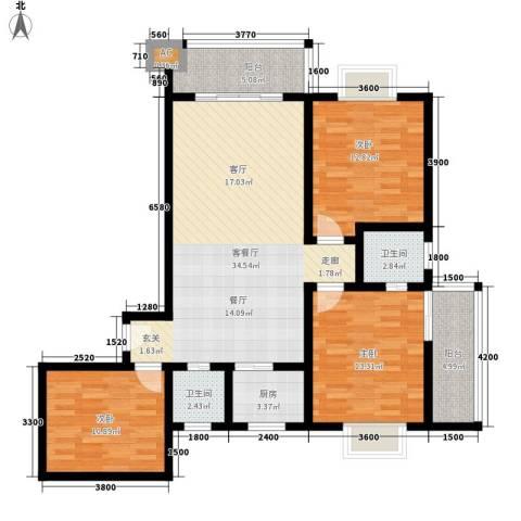 华旗东郡3室1厅2卫1厨135.00㎡户型图
